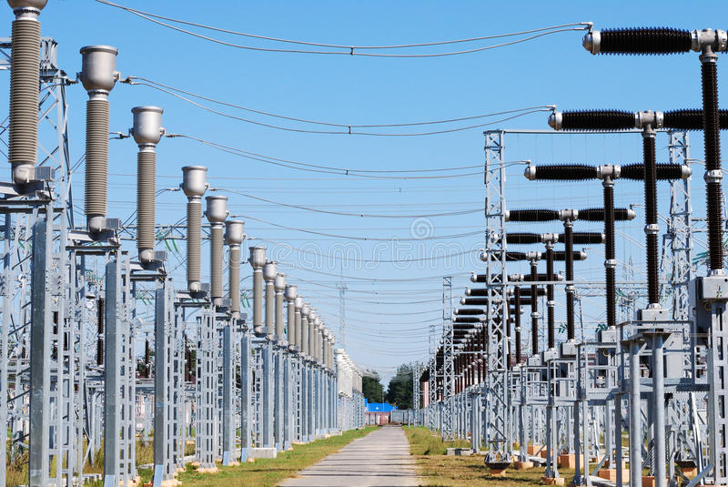 Kind on substation royalty free stock images