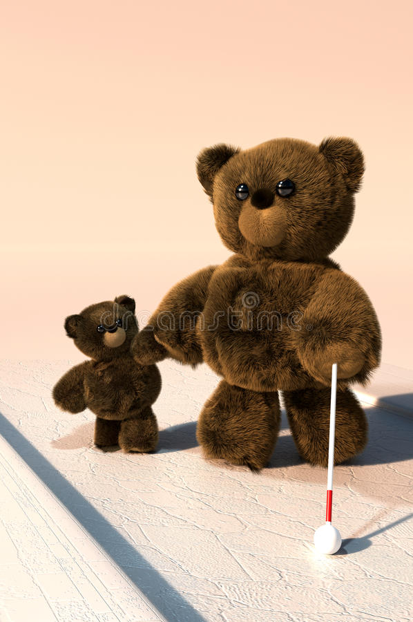 Kind Teddy. Baby Teddy is kindly helping blind Teddy to safely cross the road
