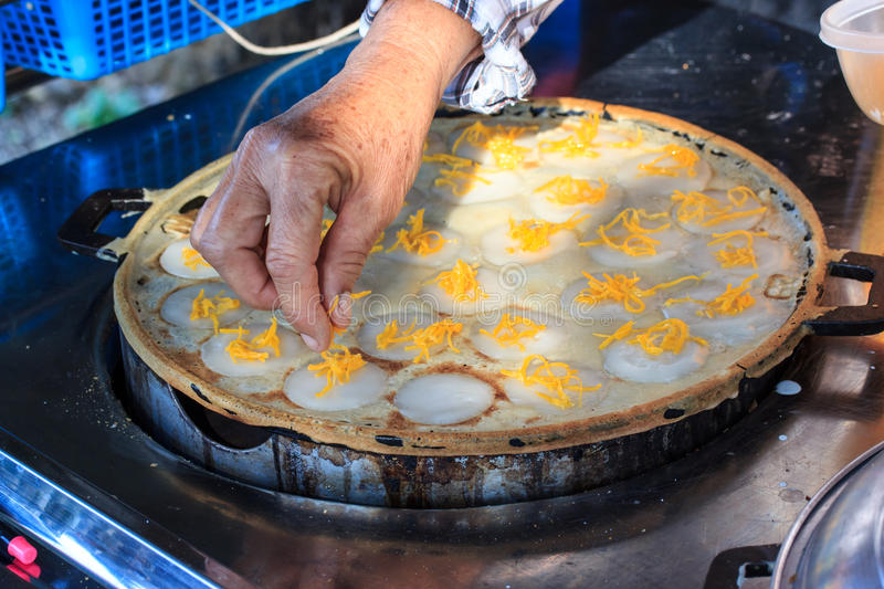 Kind of thai sweetmeat, Sweet and Savory Grilled Coconut-Rice. Hotcakes it`s for kanom krok but sometiems they use Coconut Rice Cake,Thai Coconut pudding too royalty free stock image