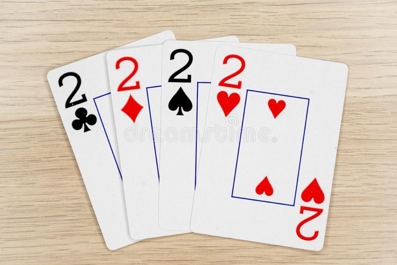 4 of a kind twos 2 - casino playing poker cards royalty free stock photos