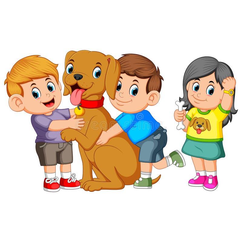 Kind umfasst liebevoll seinen Schoßhund lizenzfreie abbildung