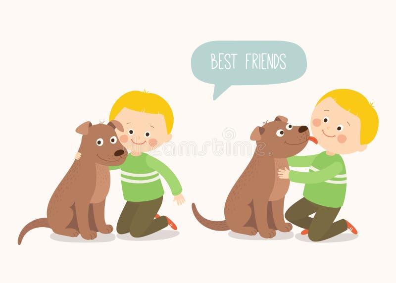 Kind umfasst liebevoll seinen Schoßhund Ein kleiner Hund, der eine Junge ` s Backe leckt Beste Freunde Karikaturvektorclipart stock abbildung