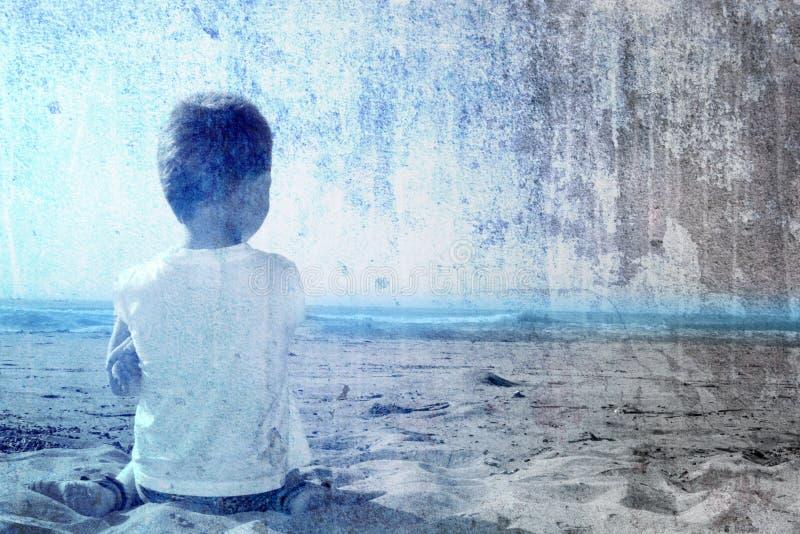 Kind und das Meer stockbilder
