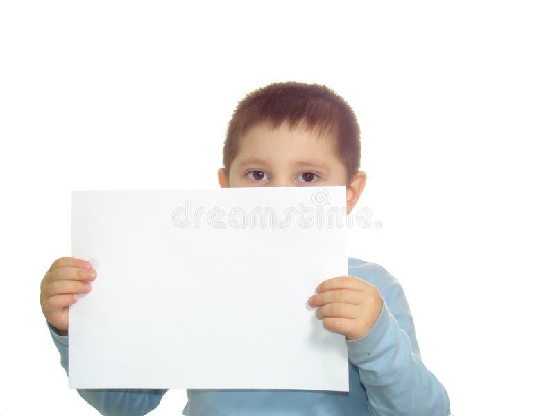 Kind und Papier stockbild