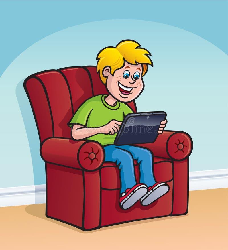 Kind unter Verwendung eines Digital-Tablets des Bildschirm- lizenzfreie abbildung