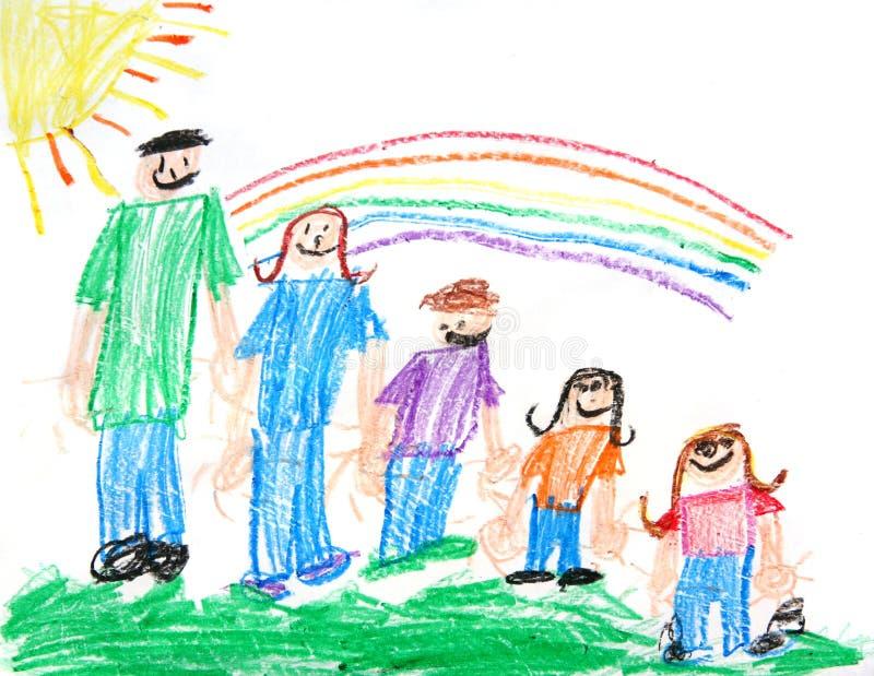 Kind-ursprüngliche Zeichenstift-Zeichnung Einer Familie Lizenzfreie Stockfotos