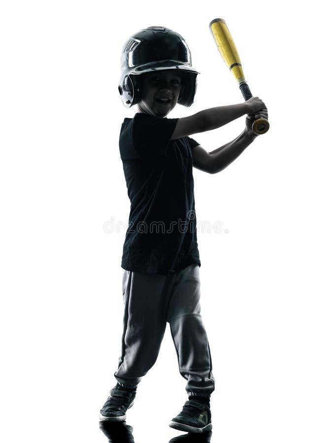 Kind, welches das Softballspielerschattenbild lokalisiert spielt lizenzfreie stockfotos