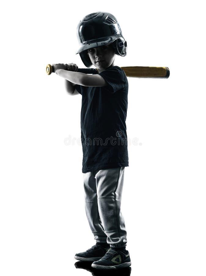 Kind, welches das Softballspielerschattenbild lokalisiert spielt lizenzfreie stockfotografie