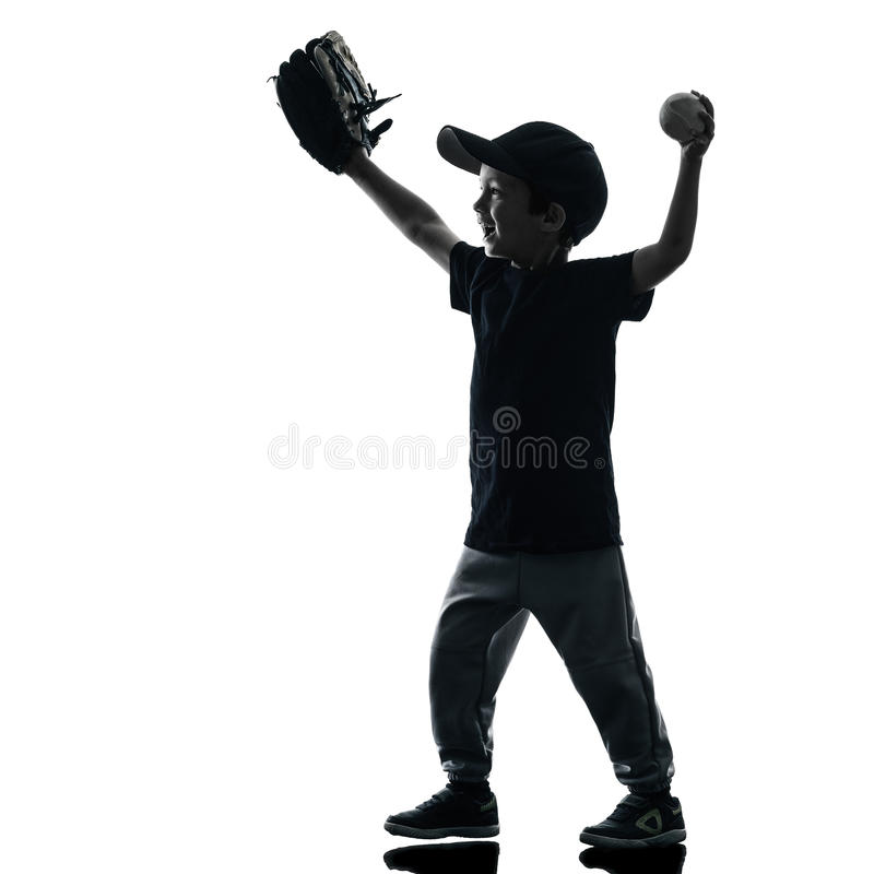 Kind, welches das Softballspielerschattenbild lokalisiert spielt lizenzfreie stockbilder