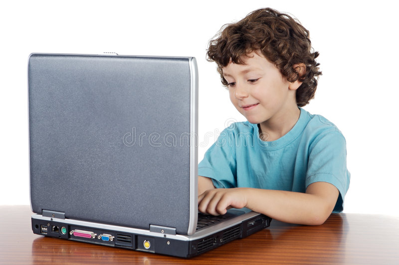 Kind Whitlaptop lizenzfreies stockbild