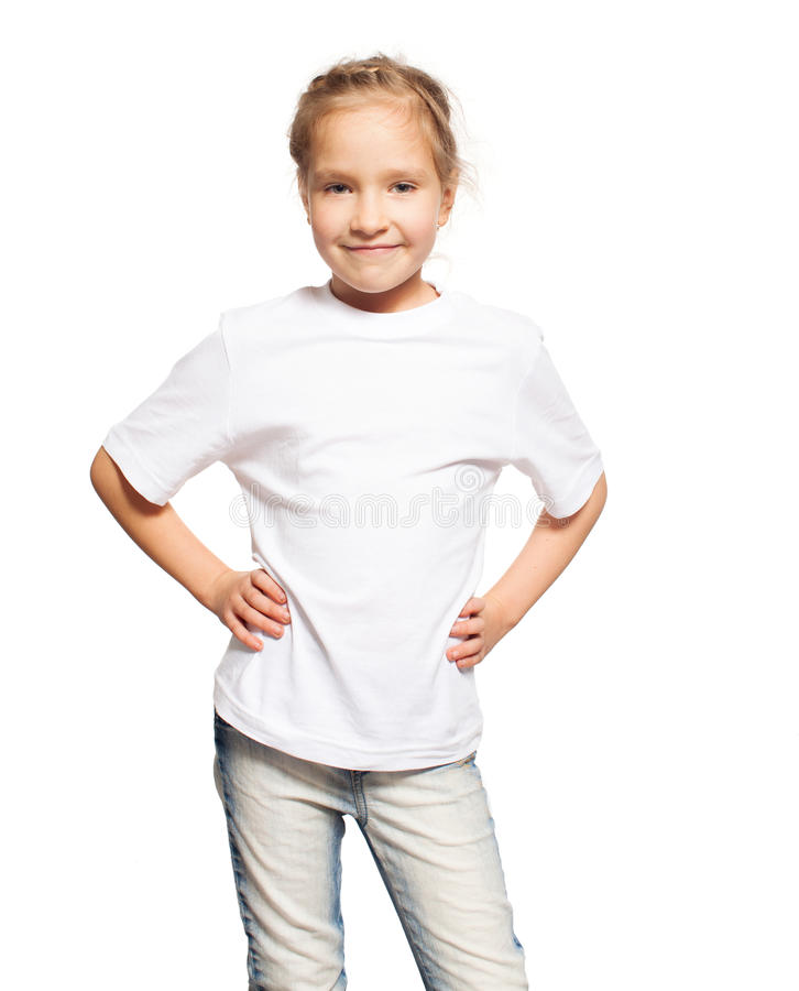 Kind in witte t-shirt stock foto's