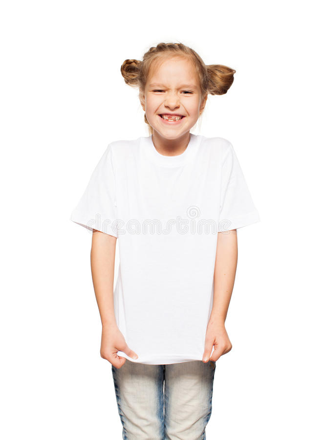 Kind in witte t-shirt royalty-vrije stock foto's