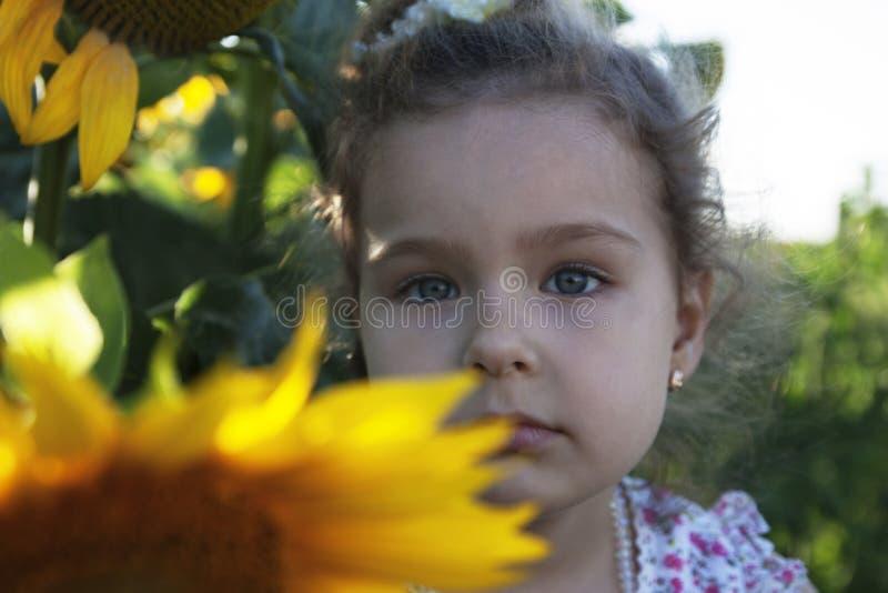 Kind in zonnebloemen stock afbeelding