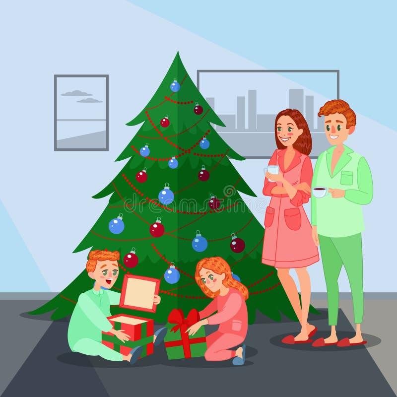 Kinder öffnet Weihnachtsgeschenke Glückliche Familien-Winterurlaube stock abbildung