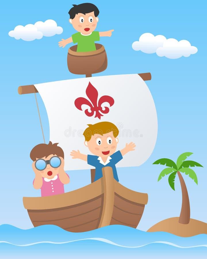 Kinder auf einem Segeln-Boot lizenzfreie abbildung