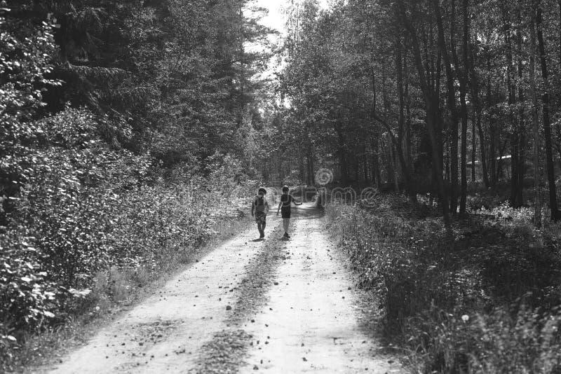 Kinder auf einem Weg im Wald stockfoto