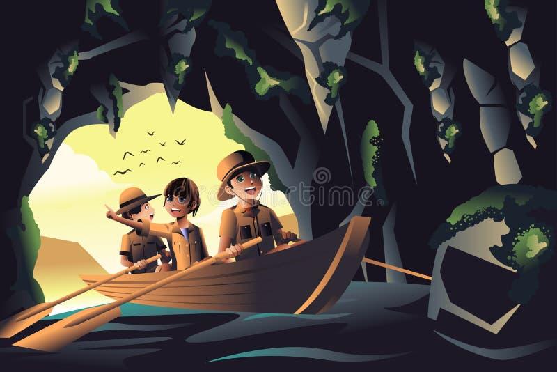 Kinder auf einer Abenteuerreise stock abbildung
