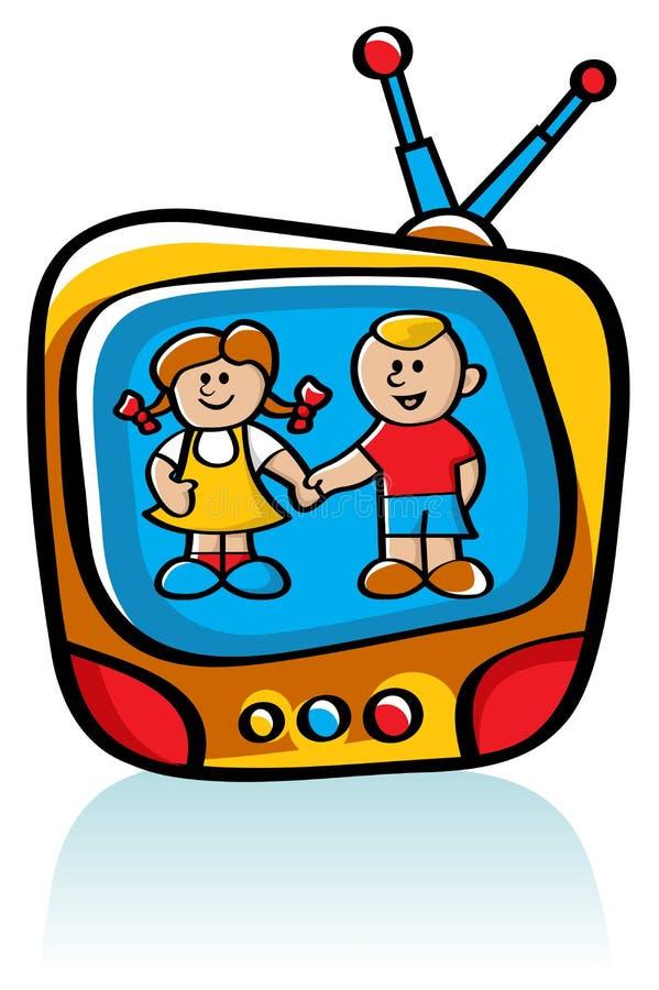 Kinder auf Fernsehapparat vektor abbildung