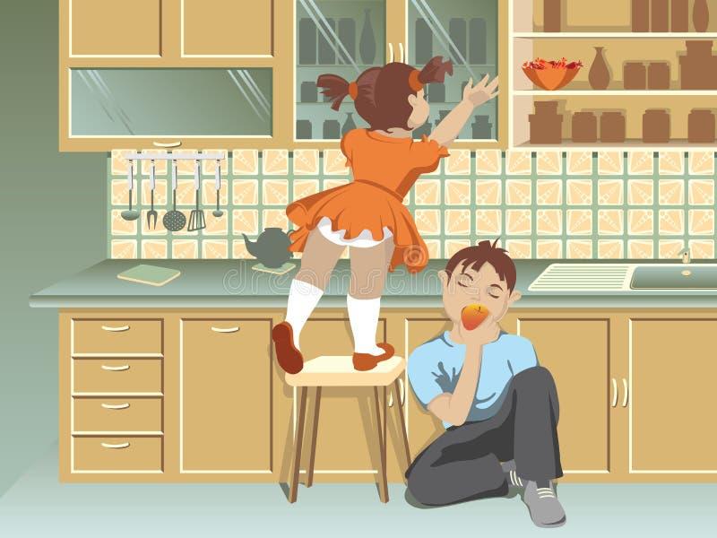 Kinder auf Küche stockfotografie