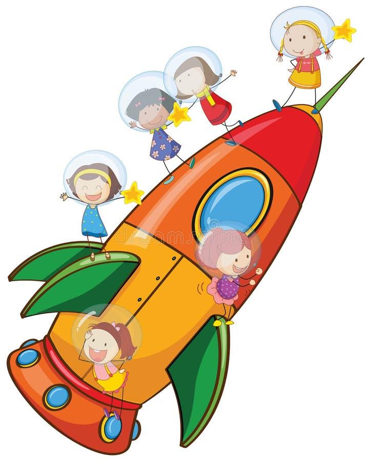 Download Kinder auf Rakete vektor abbildung. Illustration von lieferung - 26352256