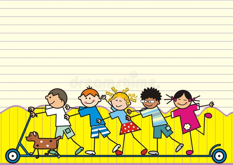 Kinder Auf Roller, Am Hintergrund Ist Zaun Und Gezeichnetes Papier ...