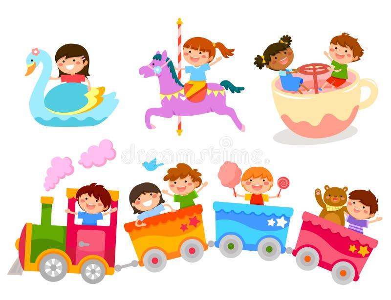 Kinder auf Spaßfahrten lizenzfreie abbildung
