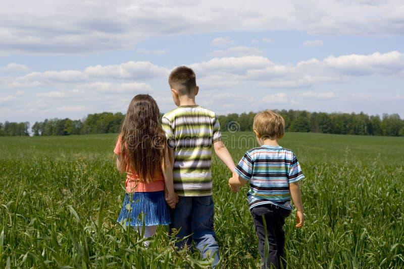 Kinder auf Wiese stockbilder