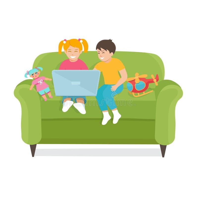 Kinder benutzen einen Laptop, der auf der Couch sitzt vektor abbildung