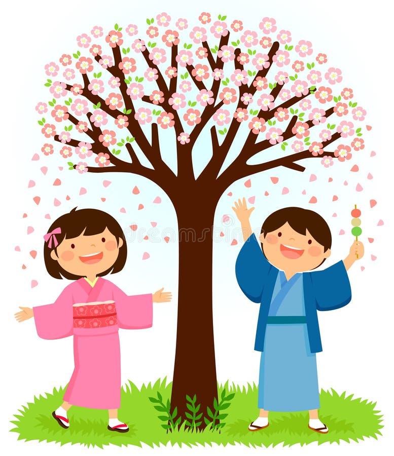 Kinder in den Kimonos, die unter einem Kirschblüte-Baum stehen lizenzfreie abbildung
