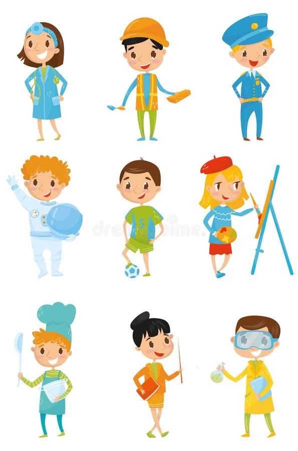 Kinder in den verschiedenen Kostümen Traumjobs Doktor, Erbauer, Polizist, Kosmonaut, Fußballspieler, Maler, Chef der Kind s stock abbildung