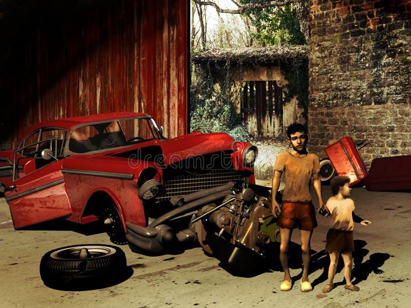 Kinder in der Armut stock abbildung