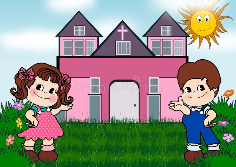 Kinder in der Kirche lizenzfreie abbildung