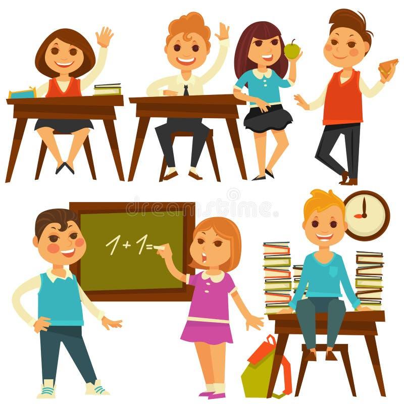 Kinder in der Schule studieren an lokalisierten Ikonen des Lektionsvektors Ebene vektor abbildung