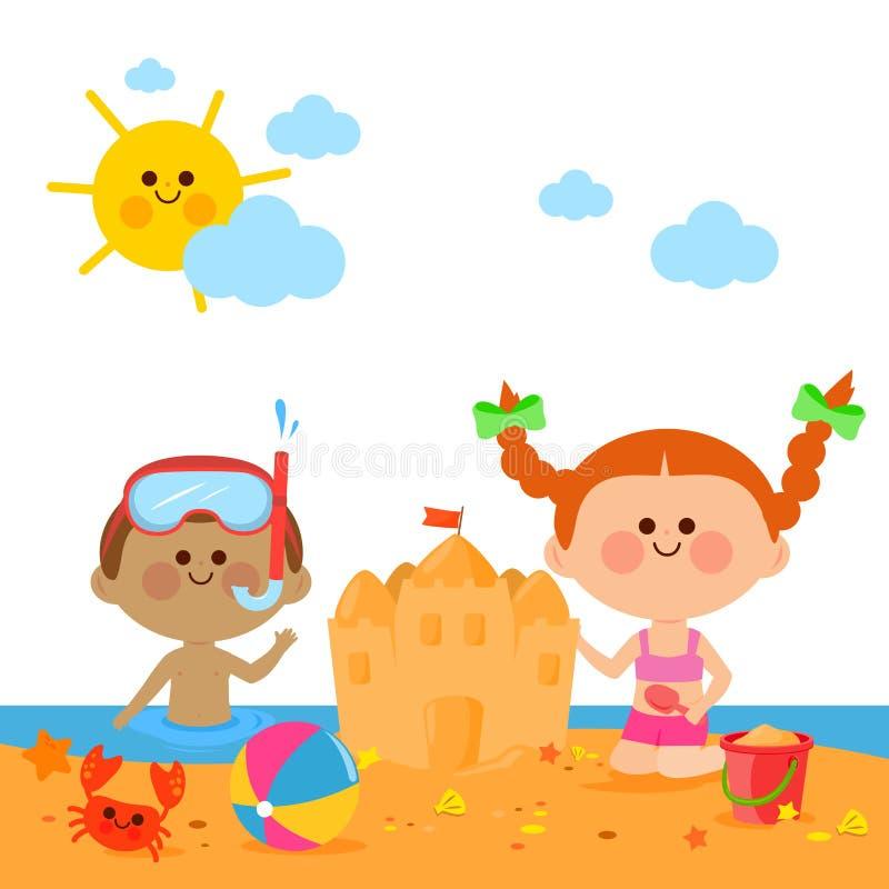 Kinder an der Strandschwimmen und -gebäude ein Sandburg vektor abbildung