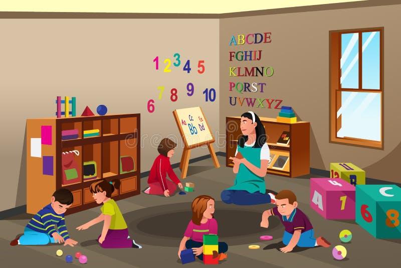 Kinder in der Vorschule lizenzfreie abbildung