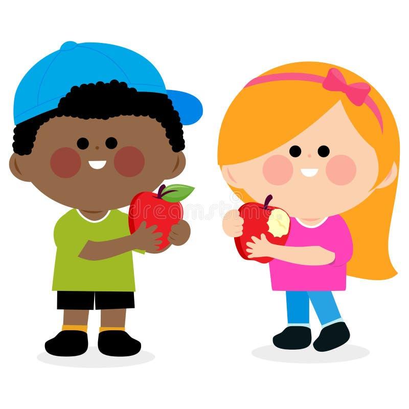 Kinder, die Äpfel essen lizenzfreie abbildung