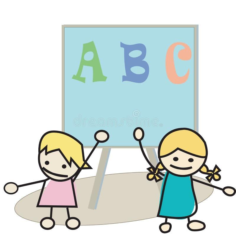 Kinder, die Alphabet erlernen stock abbildung