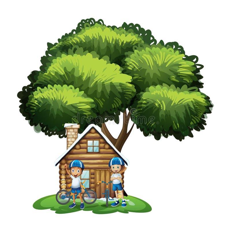 Kinder, die außerhalb des Hauses unter dem großen Baum stehen lizenzfreie abbildung