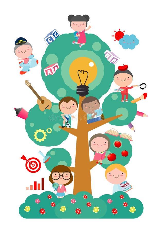 Kinder, die auf Baum mit unterschiedlichem Bildungsgegenstand, Schulbaum des Wissens und Kinderbildung, flacher Artvektor studier stock abbildung