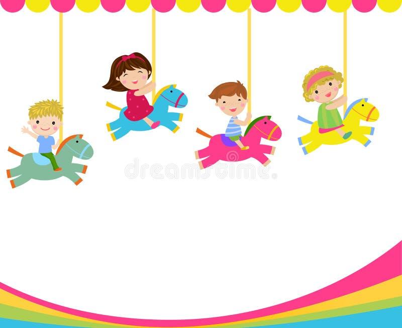 Kinder, die auf dem Karussell spielen lizenzfreie abbildung