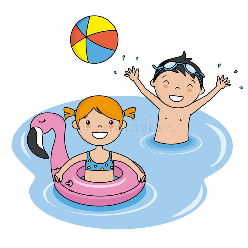 Kinder, die auf dem Strand baden stock abbildung