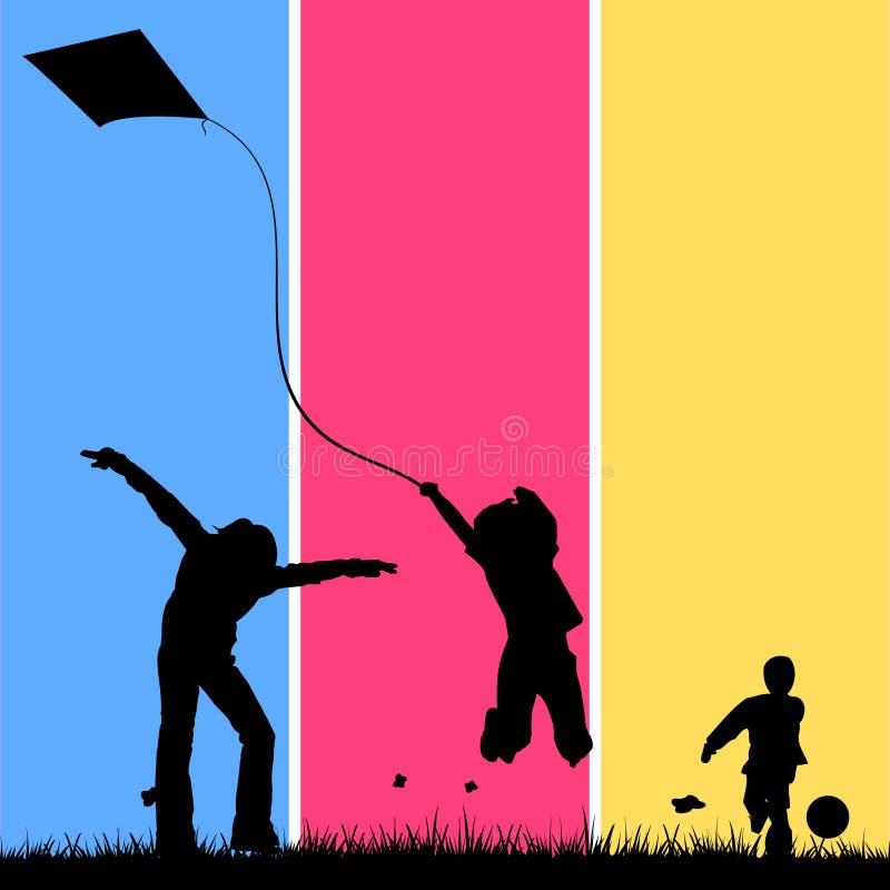 Kinder, die auf einem Gebiet spielen vektor abbildung