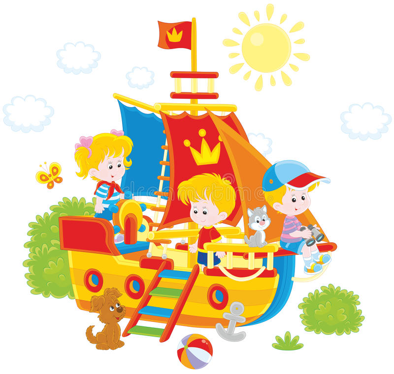 Kinder, die auf einem Schiff spielen lizenzfreie abbildung