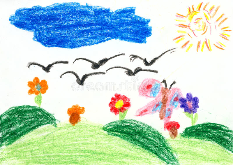 Kinder, die auf Papier zeichnen - Vögel fliegen auf den Süden lizenzfreie abbildung