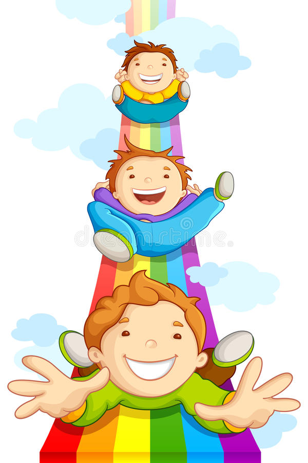 Kinder, die auf Regenbogen schieben stock abbildung