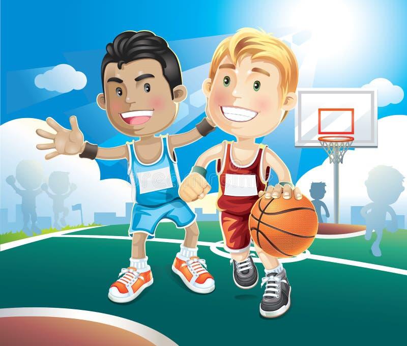 Kinder, die Basketball auf Gericht im Freien spielen. lizenzfreie abbildung