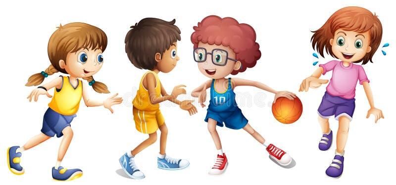 Kinder, die Basketball auf weißem Hintergrund spielen lizenzfreie abbildung