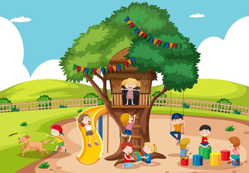 Kinder, die am Baumhaus spielen vektor abbildung
