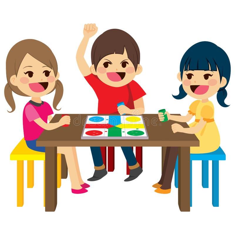 Kinder, die Brettspiel spielen lizenzfreie abbildung