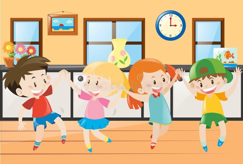 Kinder, die in das Haus tanzen vektor abbildung